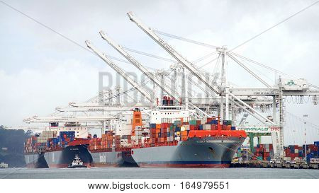 Oakland CA - January 09 2017: The Port of Oakland loads and discharges more then 99 percent of containerized goods moving through Northern California the nations fourth largest metropolitan area.