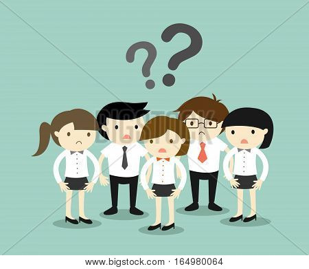 Business concept, Group of business people feeling confused. Vector illustration.