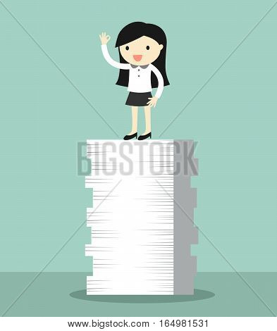 Business concept, Business woman is standing on the tops of papers. Vector illustration.