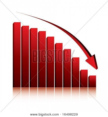 economy crisis / 3d graph showing fall in profits or earnings / vector illustration
