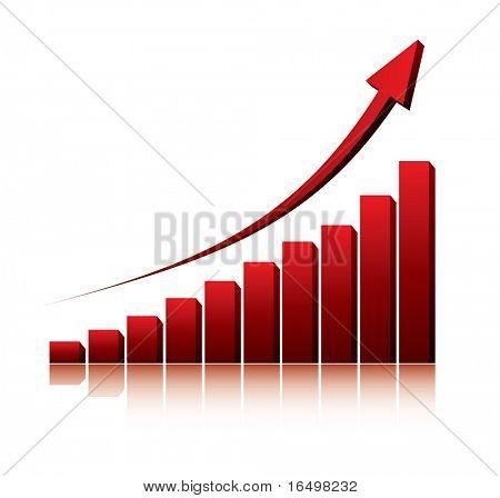 gráfico 3D que muestra aumento de ganancias o ingresos