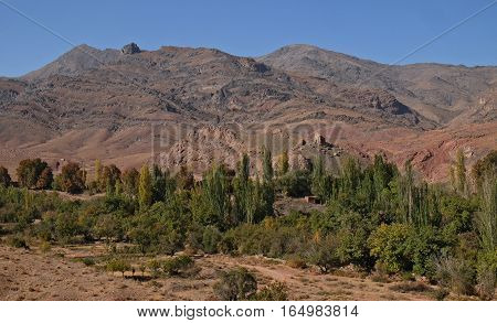 The hill opposit of abyaneh village It 's traditinal and historic village in Iran Look like desert.