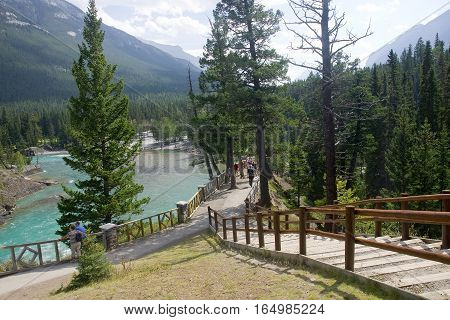 Banff, Canada - August 30, 2016: Tourists Visiting Bow River Nea