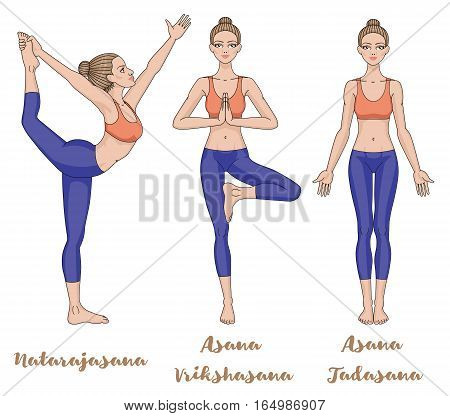 Women silhouette. Lord of the dance yoga pose. Natarajasana. Yoga mountain pose. Tadasana. .Yoga tree pose. Vrikshasana. Vector illustration
