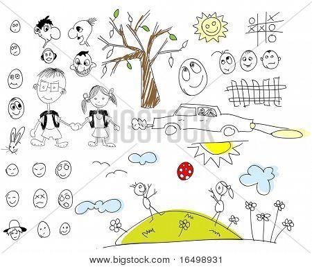 children drawing elements - set 1