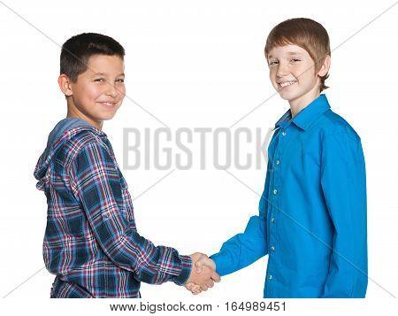 Handshake Of Two Cheerful Boys