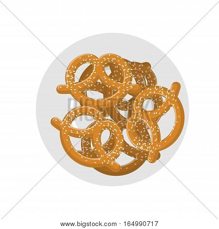 Pretzel On Plate Top View. Beer Snack On Dish. Food For Oktoberfest Celebration In Germany