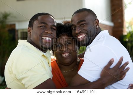 African American mother and her two sons.