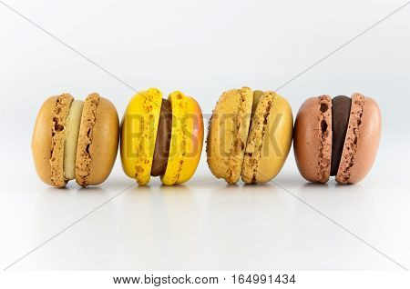 Closeup colorful macaroon isolated on white background