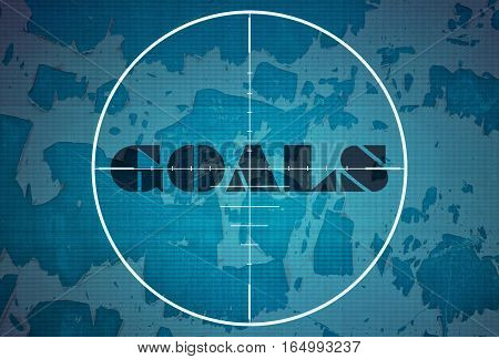 Word Goals in the center of the target on blue background
