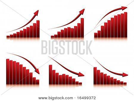 3d graphs showing rise and fall in profits or earnings / vector illustration