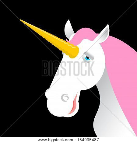 Unicorn With Pink Mane Head Isolated. Fabulous Animal Face