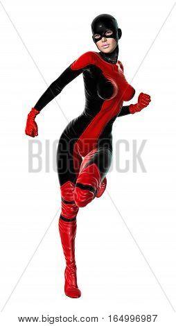 3D Rendering Female Superhero On White