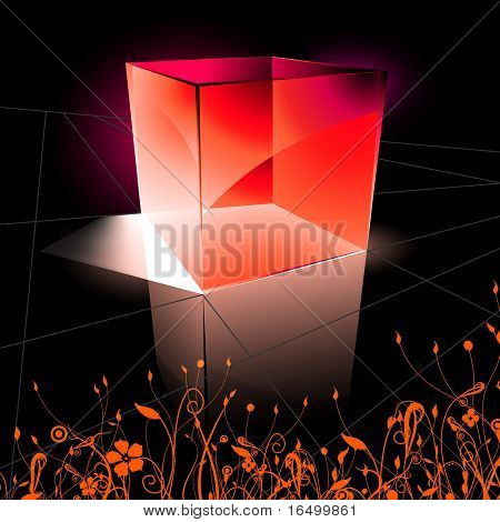 floral background with neon cube