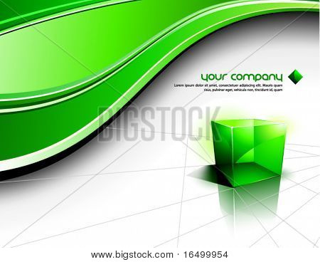 Clean Futuristic Vector Design With Transparent Green Cube