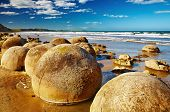 stock photo of queer  - Famous Moeraki Boulders - JPG