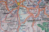 Lyon and Grenoble, France as a travel destination on a map poster