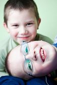foto of little boy  - two little brothers happy together  - JPG
