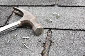 stock photo of shingle  - Roof repair - JPG