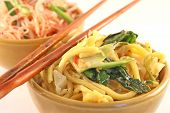 pic of thai food  - Bowls of fried noodles on a white background - JPG