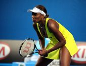 MELBOURNE, AUSTRALIA - JANUARY 19: Venus Williams in her first round win over Lucie Safarova of the