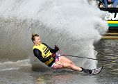 MELBOURNE, AUSTRALIA - MARCH 8: A competitor in the women's slalom at the Moomba Masters on March 8,