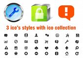 Vector 3 styles of 32 web 2.0 applications icons pack. Blue glass circle, green sleek cube and flat.
