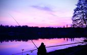 stock photo of bass fish  - Silhouette of fisherman at sunset - JPG