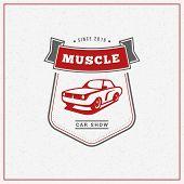 Classic Car Logo, Emblem, Badge. Service Car Repair, Car Restoration And Car Club Design Elements. V poster