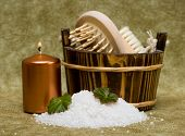 picture of washtub  - washtub with bath salt and candle - JPG