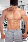 Bodybuilder Bodybuilding Muscles Abs Sixpack Fitness Gym Strong Muscular Man Looking Down poster
