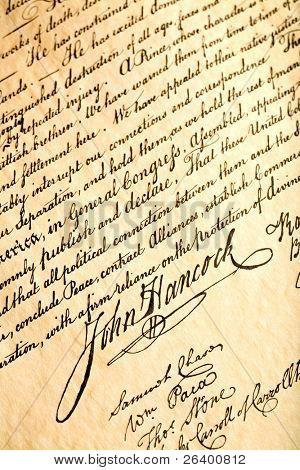 John Hancock Unterschrift auf Unabhängigkeitserklärung der Vereinigten Staaten, closeup