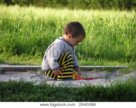 Young Child In Sand Pit