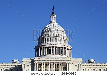 U.S. Capitol Building in Washington D.C. against clear blue sky