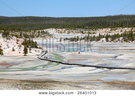 people walking along path at norris geyser basin in Yellowstone National Park - Wyoming, US