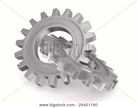 Two chrome gears on white background. Isolated 3D image