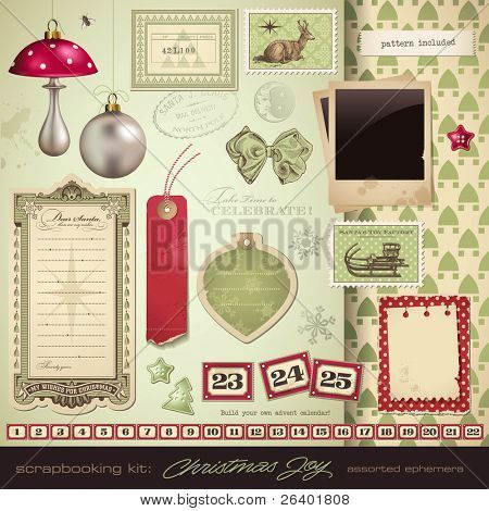 scrapbooking kit: christmas - variety of ephemera and design elements for your holiday layouts