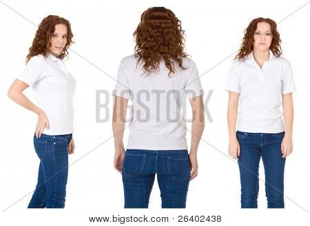 Fashion model in white t-shirt and blue jeans (Multiple angles)