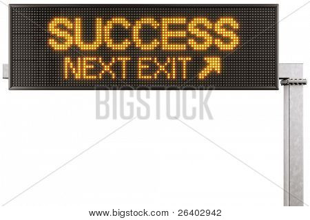 """3d rendering of a modern digital highway sign with """"SUCCESS"""" written on it"""