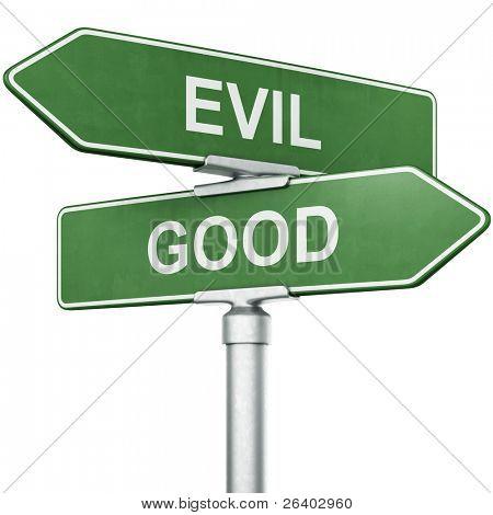 """representación 3D de signos con """"Bien"""" y el """"Mal"""" apuntando en direcciones opuestas"""