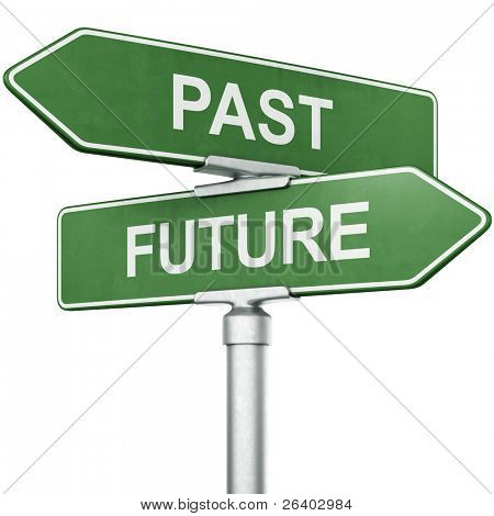 "3d rendering of signs with ""PAST"" and ""FUTURE"" pointing in opposite directions"