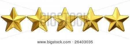 3D-Rendering von 5 goldenen Sternen