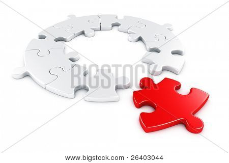 3d rendering of a circular puzzle with one piece disconnected