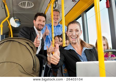 Passengers in a bus - a commuter, a father with a stroller, a man, children; all with thumps up