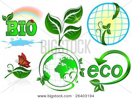 Eco vector set. 6 items on white background.