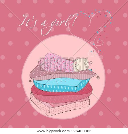 Baby Girl Sleeping on Pillows Card in pink