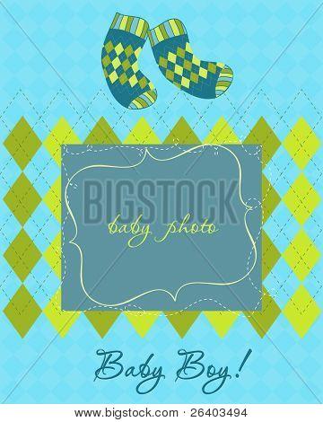 Tarjeta de desembarque de bebé con marco de fotos