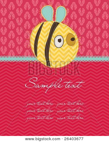 Greeting baby card with Bee