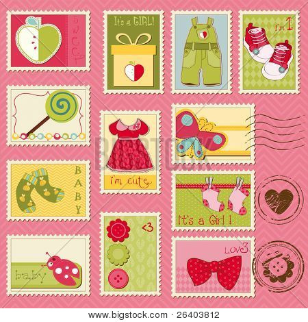 Baby Girl Postage Stamps