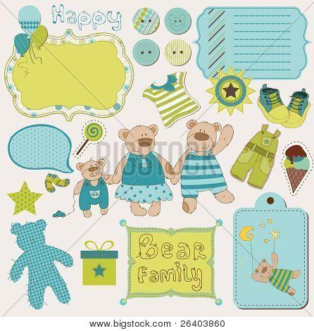 Tener familia bebé chatarra - gran conjunto de elementos de diseño